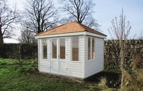 2.4 x 3.0m Hipped Roof Cley Summerhouse in Cream