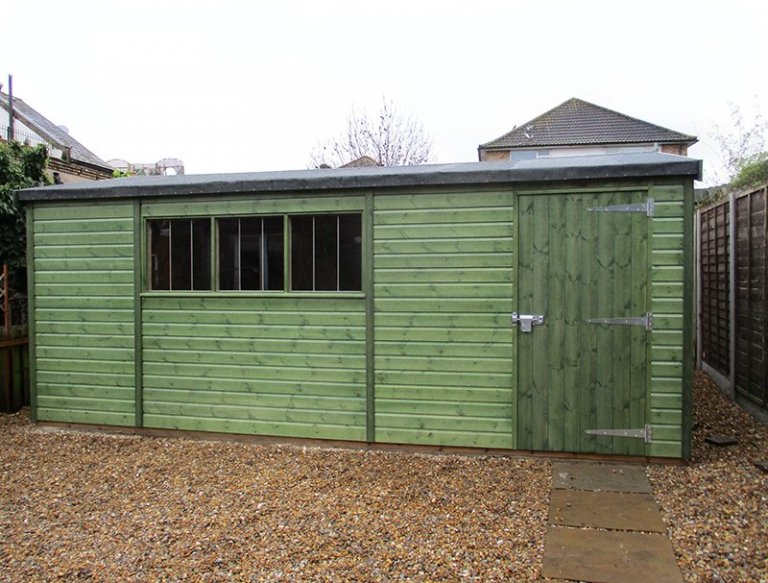 3.6 x 5.4m Apex Roof Superior Shed in Sikkens Green