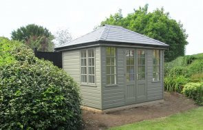 2.4 x 3.0m Hipped Roof Cley Summerhouse in Ash from our exterior paint system