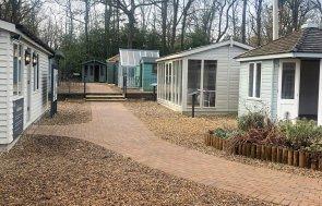 Sunningdale show site - view of Wetbourne, Langham sales office, Burnham Studio