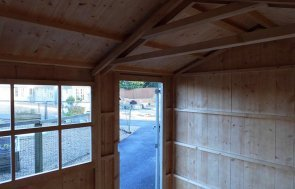 Inside the 2.4 x 3.6m Blickling Shed in Wades Lantern at Burford