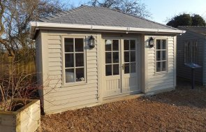 Exterior of the 3.6 x 4.8m Garden Room in Farrow & Ball Light Gray at Burford