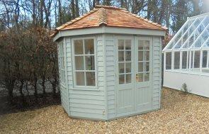 2.4 x 3.0m Wiveton Summerhouse in Farrow & Ball Pigeon at Newbury