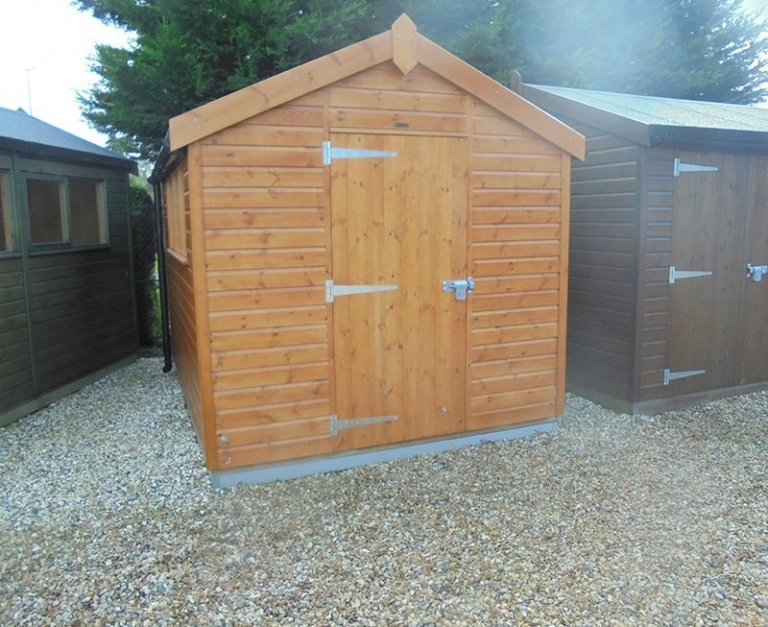 2.4 x 3.0m Superior Shed in Sikkens Teak at Newbury