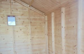 Inside the Newbury 2.4 x 3.0m Superior Shed in Sikkens Teak