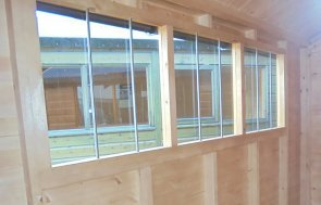 Windows inside the Newbury 2.4 x 3.0m Superior Shed in Sikkens Teak