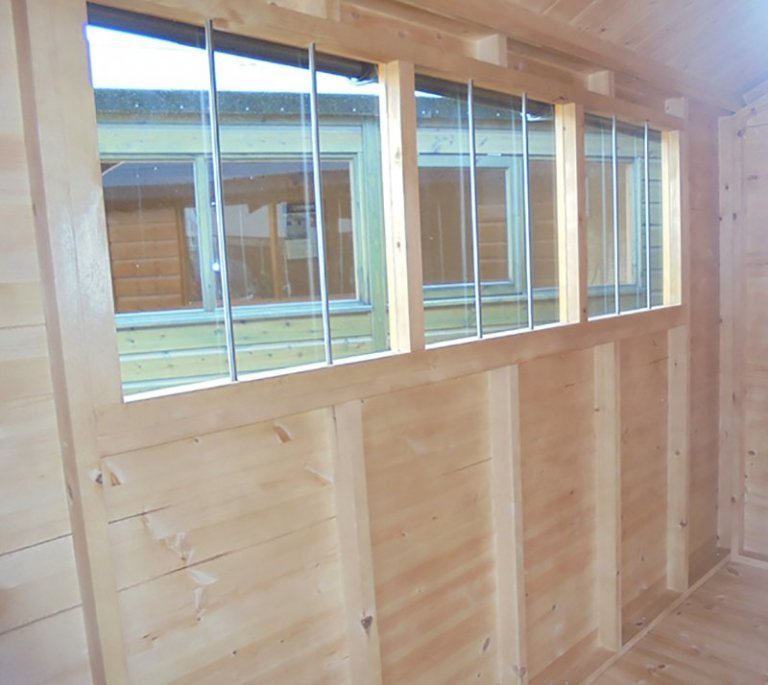 Windows inside the Newbury 2.4 x 3.0m Superior Shed
