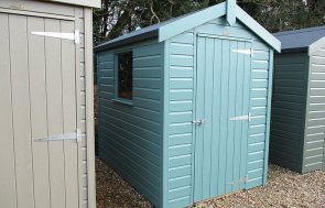 St Albans 1.5 x 2.1m Classic Shed painted in Mint from our Classic Paint System