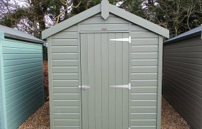 1.8 x 2.4m Classic Shed at St Albans painted in Moss from our Classic Paint System