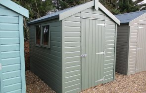 St Albans 1.8 x 2.4m Classic Shed painted in Moss from our Classic Paint System