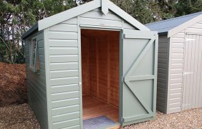 St Albans 1.8 x 2.4m Classic Shed with open door painted in Moss from our Classic Paint System
