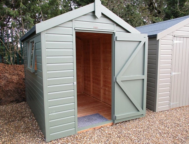 St Albans 1.8 x 2.4m Classic Shed with open door