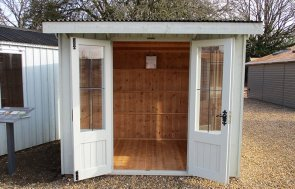 St Albans 1.8 x 2.4m National Trust Flatford Summerhouse with open doors in Disraeli Green