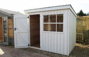 St Albans 1.8 x 2.4m National Trust Oxburgh Shed with open door in Earls Grey