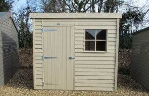 1.8 x 2.4m Weatherboard Superior Shed painted in Taupe from our exterior paint system at St Albans