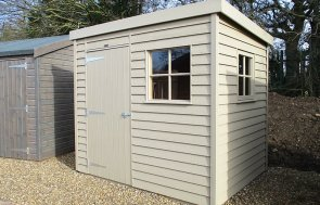 St Albans 1.8 x 2.4m Weatherboard Superior Shed painted in Taupe from our exterior paint system