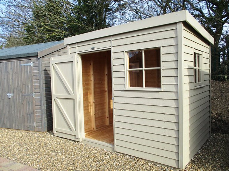St Albans 1.8 x 2.4m Weatherboard Superior Shed with open door
