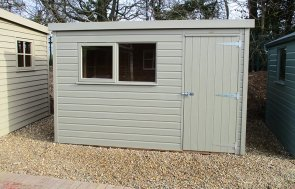 1.8 x 3.0m Pent Roof Classic Shed at St Albans painted in Stone from our Classic Paint System