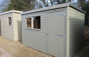 St Albans 1.8 x 3.0m Pent Roof Classic Shed painted in Stone from our Classic Paint System