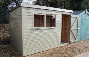 St Albans 1.8 x 3.0m Pent Roof Classic Shed with open door painted in Stone from our Classic Paint System