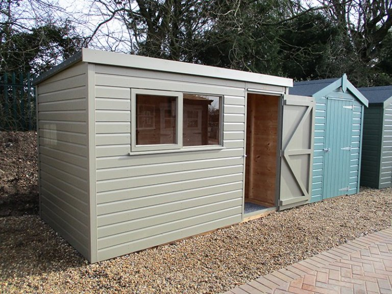 St Albans 1.8 x 3.0m Pent Roof Classic Shed with open door