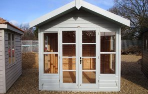 2.4 x 2.4m Blakeney Summerhouse at St Albans painted in Verdigris from our exterior paint system