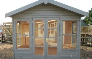 3_0m x 2_4m Blakeney Summerhouse at St Albans painted in Ash from our exterior paint system