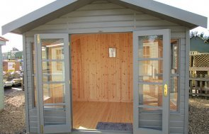 St Albans 3.0m x 2.4m Blakeney Summerhouse with open doors painted in Ash from our exterior paint system