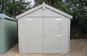 2.4 x 3.0m Apex Roof Classic Shed at St Albans painted in Stone from our Classic Paint System