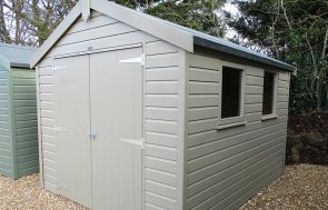 St Albans 2.4 x 3.0m Apex Roof Classic Shed painted in Stone from our Classic Paint System