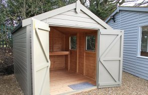 St Albans 2.4 x 3.0m Apex Roof Classic Shed with open double doors painted in Stone from our Classic Paint System