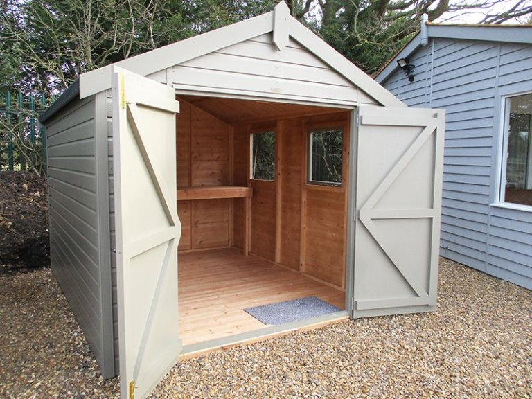 St Albans 2.4 x 3.0m Apex Roof Classic Shed with open double doors