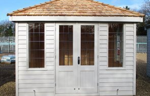 2.4 x 3.0m Cley Summerhouse at St Albans painted in Twine from our exterior paint system