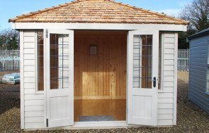 St Albans 2.4 x 3.0m Cley Summerhouse with open double doors painted in Twine from our exterior paint system