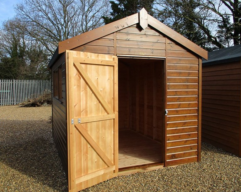 St Albans 2.4 x 3.0m Sikkens Walnut Superior Shed with open door, an apex roof and shiplap cladding