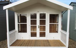 3.0 x 3.6m Morston Summerhouse at St Albans painted in Cream from our exterior paint system