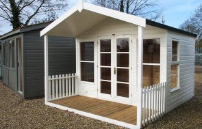 St Albans 3.0 x 3.6m Morston Summerhouse painted in Cream from our exterior paint system