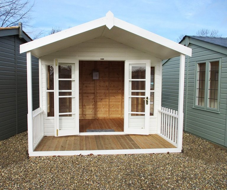 St Albans 3.0 x 3.6m Morston Summerhouse with open double doors painted in Cream from our exterior paint system