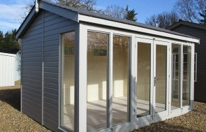 Our St Albans show centre 3_0 x 4_2m Burnham Studio painted in Pebble from our exterior paint system