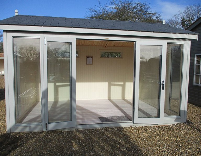 Our St Albans show centre 3_0 x 4_2m Burnham Studio with open double doors