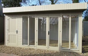 3.0 x 4.8m Salthouse with Storage Partition painted in Taupe from our exterior paint system at St Albans