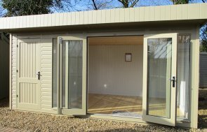 3.0 x 4.8m Salthouse with Storage Partition and open double doors painted in Taupe from our exterior paint system at St Albans