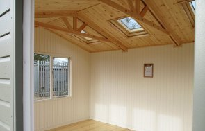 Inside the St Albans 3.6 x 4.2m Langham Studio in Ash from our exterior paint system