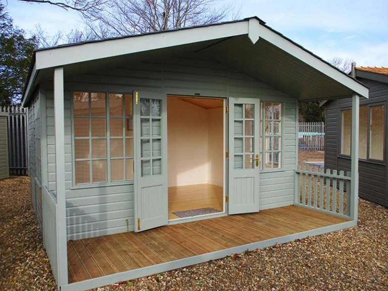 Our St Albans show site 4.2 x 4.2m Morston Summerhouse with open double doors