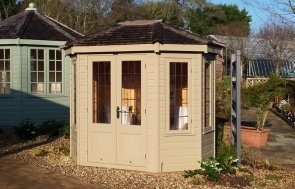 1.8 x 2.5m Wiveton Summerhouse at Cranleigh painted in Taupe