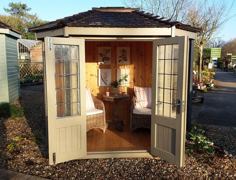 1.8 x 2.5m Wiveton Summerhouse at Cranleigh with open double doors
