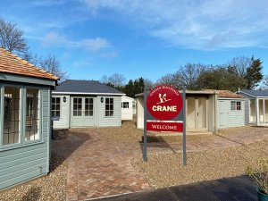 A selection of Studios, Summerhouses and Garden Rooms at our St Albans show site located at Notcutts Garden Centre
