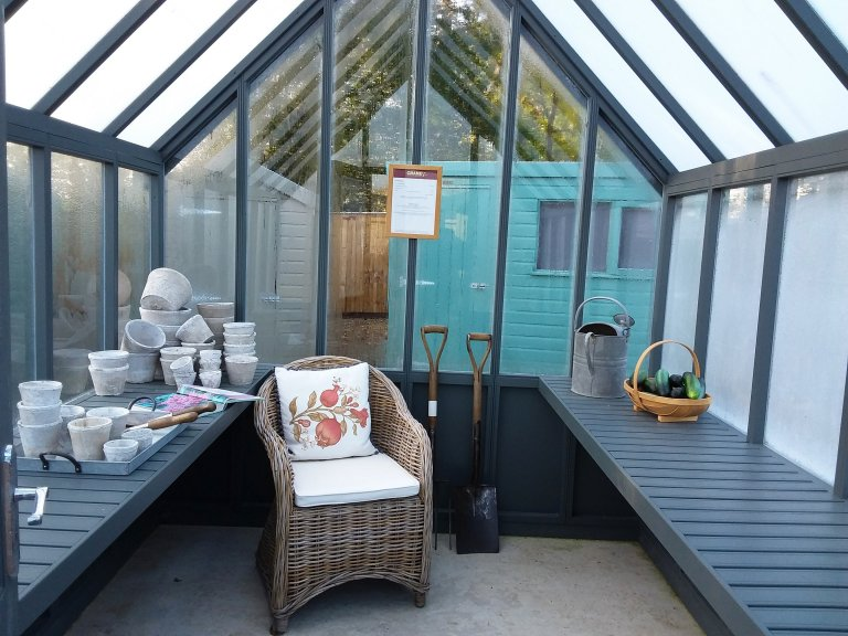 Inside Cranleigh's 2.4 x 3.0m Greenhouse