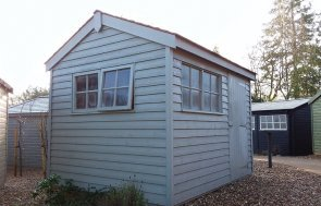 2.4 x 3.0m Weatherboard Superior Shed at Cranleigh in Farrow & Ball Pigeon