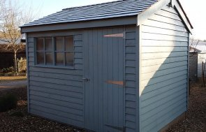 2.4 x 3.0m Weatherboard Superior Shed at Cranleigh show centre in Farrow & Ball Pigeon